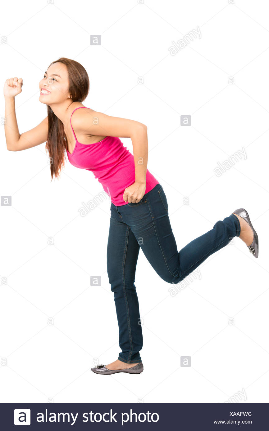 Running Asian Woman Chasing Object Side Profile Stock Photo