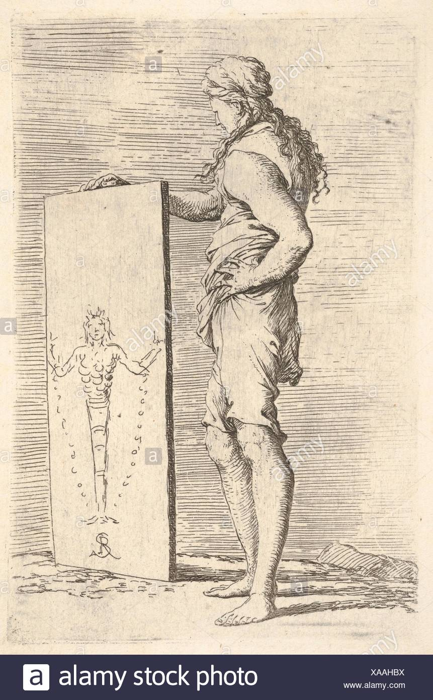 A figure supporting a tablet with a representation of a herm of Diana of Ephesus, from the series 'Figurine'. Artist: Salvator Rosa (Italian, - Stock Image