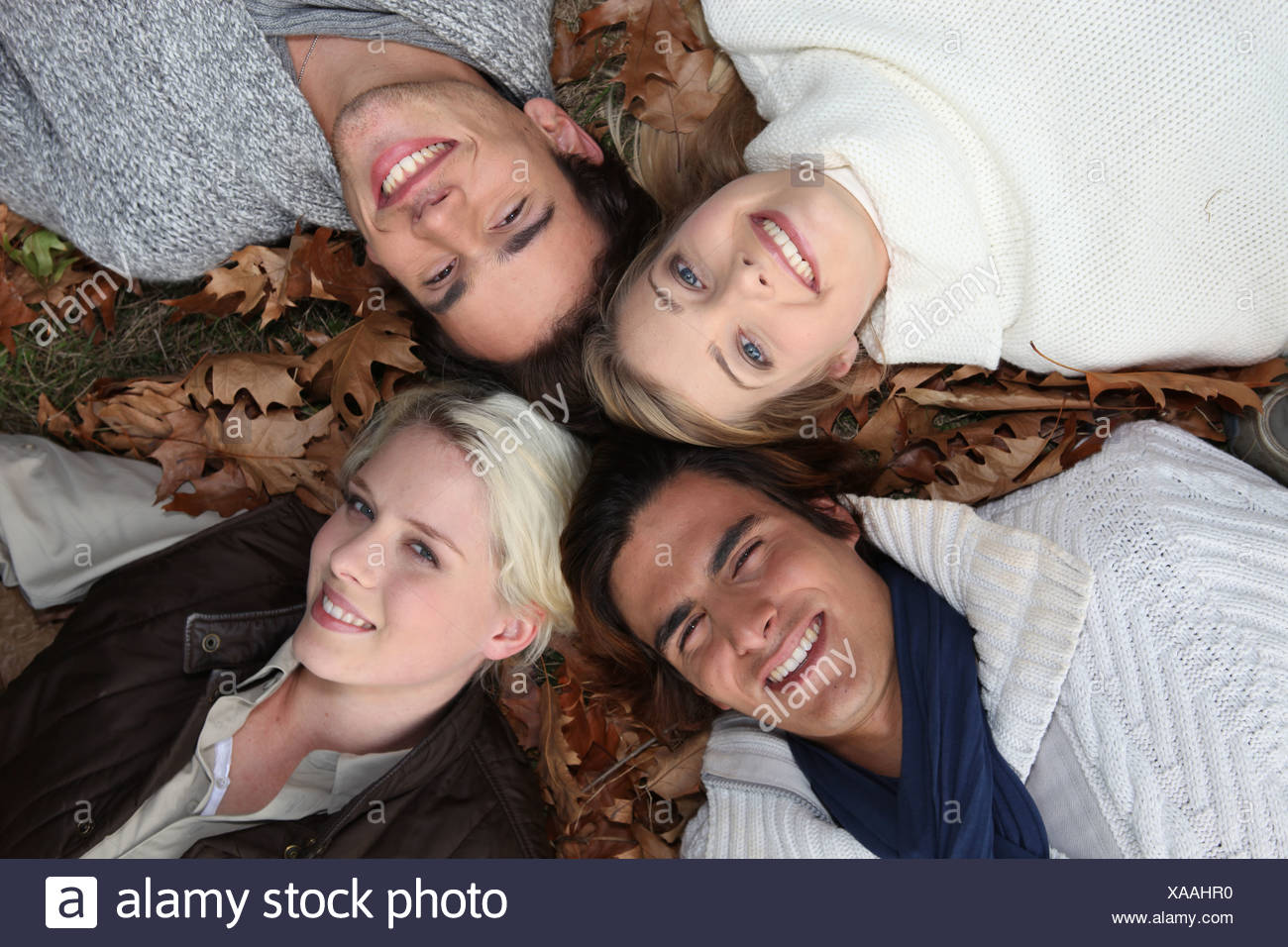 4 young people heads in the grass at autumn - Stock Image