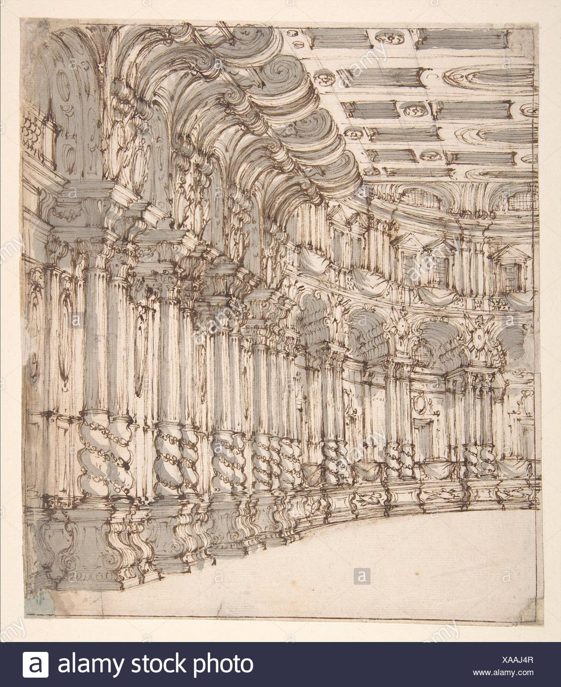 Design for a Stage Set: Interior of a Ballroom or Theater with Torqued Columns and Large Volutes Above. Artist: Francesco Galli Bibiena (Italian, - Stock Image