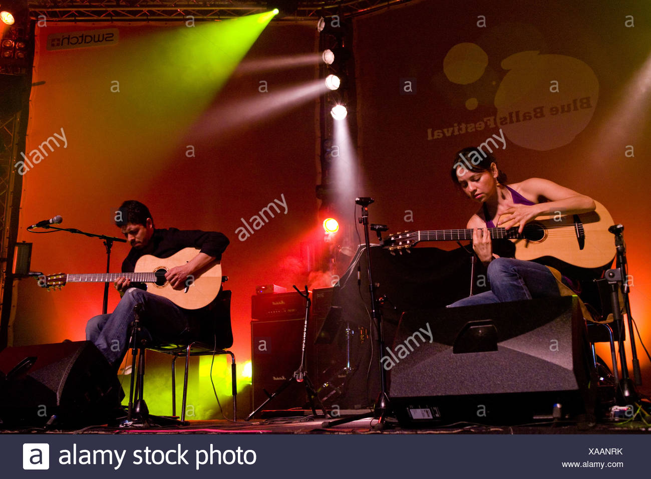 Mexican guitar duo Rodrigo Y Gabriela performing live at the Blue Balls Festival in the Lucerne Hall of the KKL in Lucerne, Swi - Stock Image