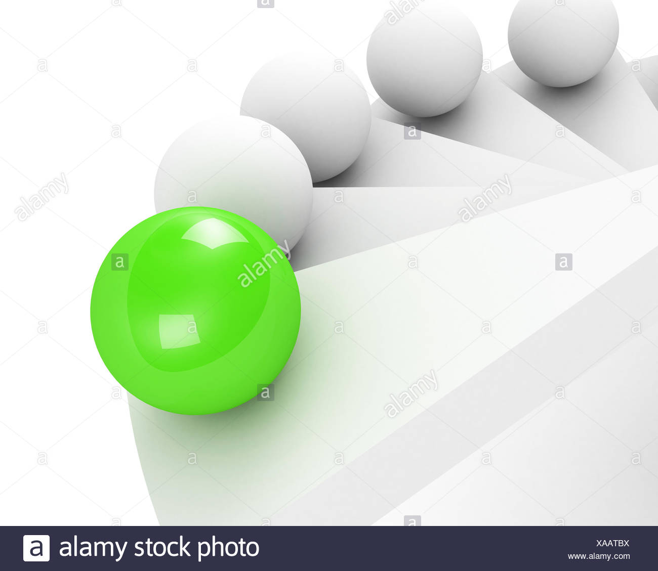 stairs up to success. leadership concept. green - Stock Image