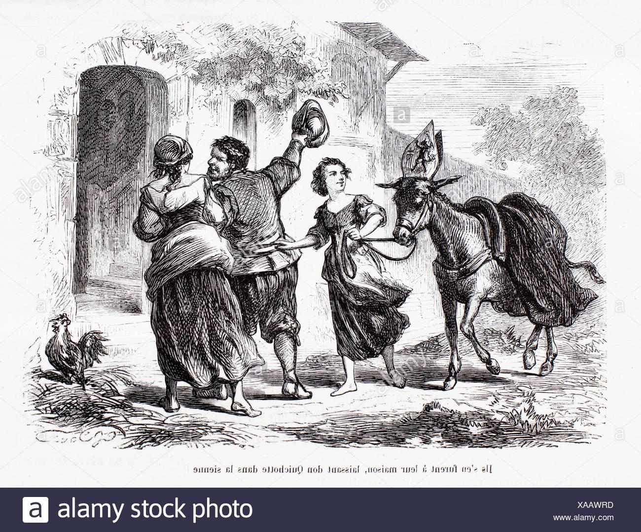 ´Ils s´en furent à leur maison, laissant don Quichotte dans la sienne´, The Ingenious Gentleman Don Quixote of La Mancha by - Stock Image