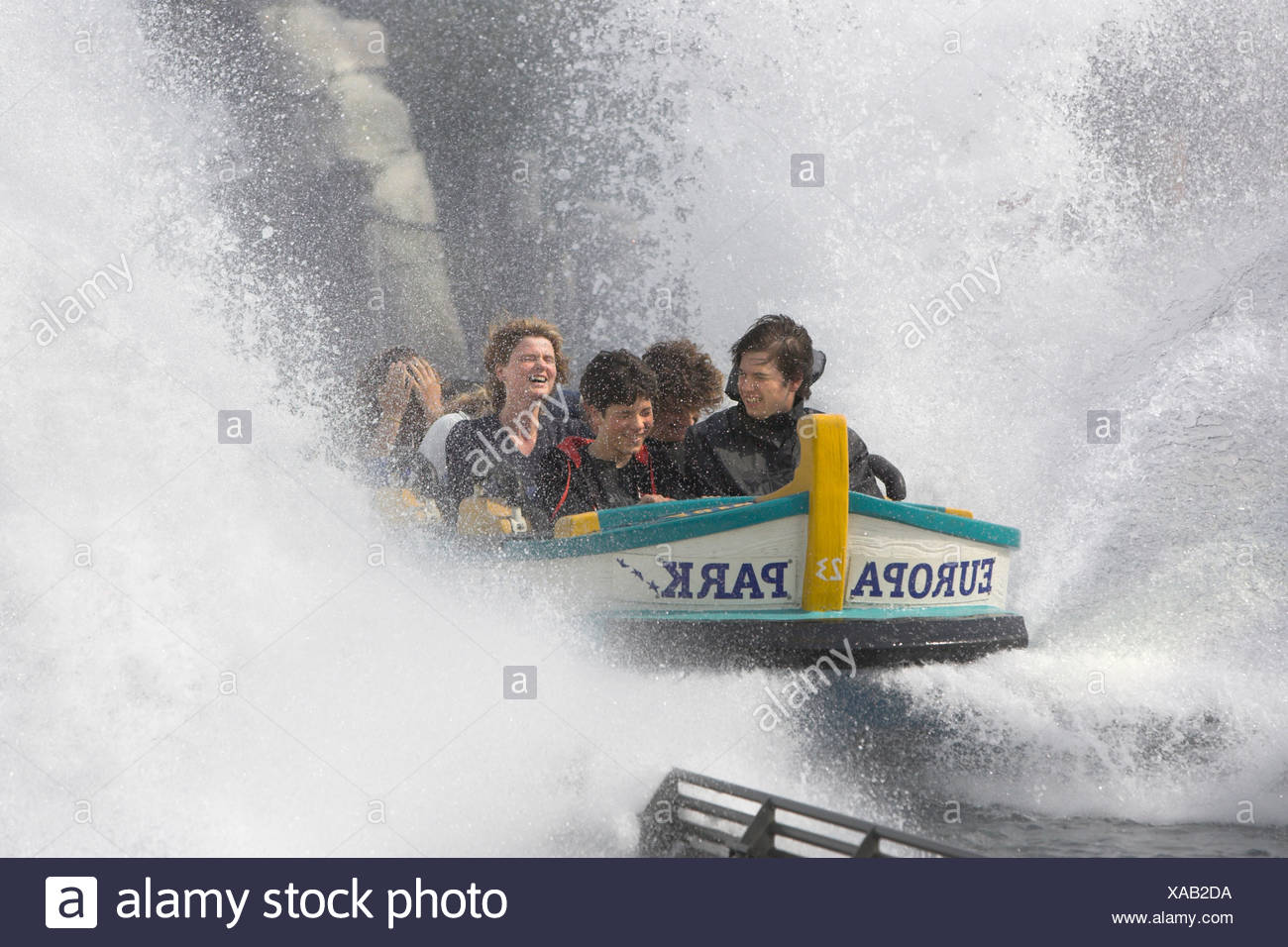 Water roller coaster poseidon, European park Rust, Bade-Wuerttemberg, Germany. - Stock Image