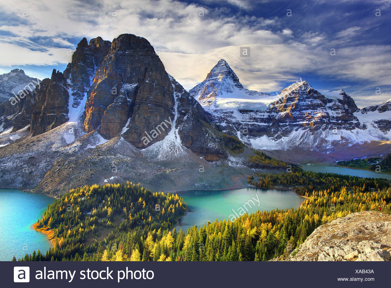 Canada, province, nature, landscape, Rockies, Canadian Rockies, mountains, lake, scenery, British Columbia, Mount Assiniboine, L - Stock Image