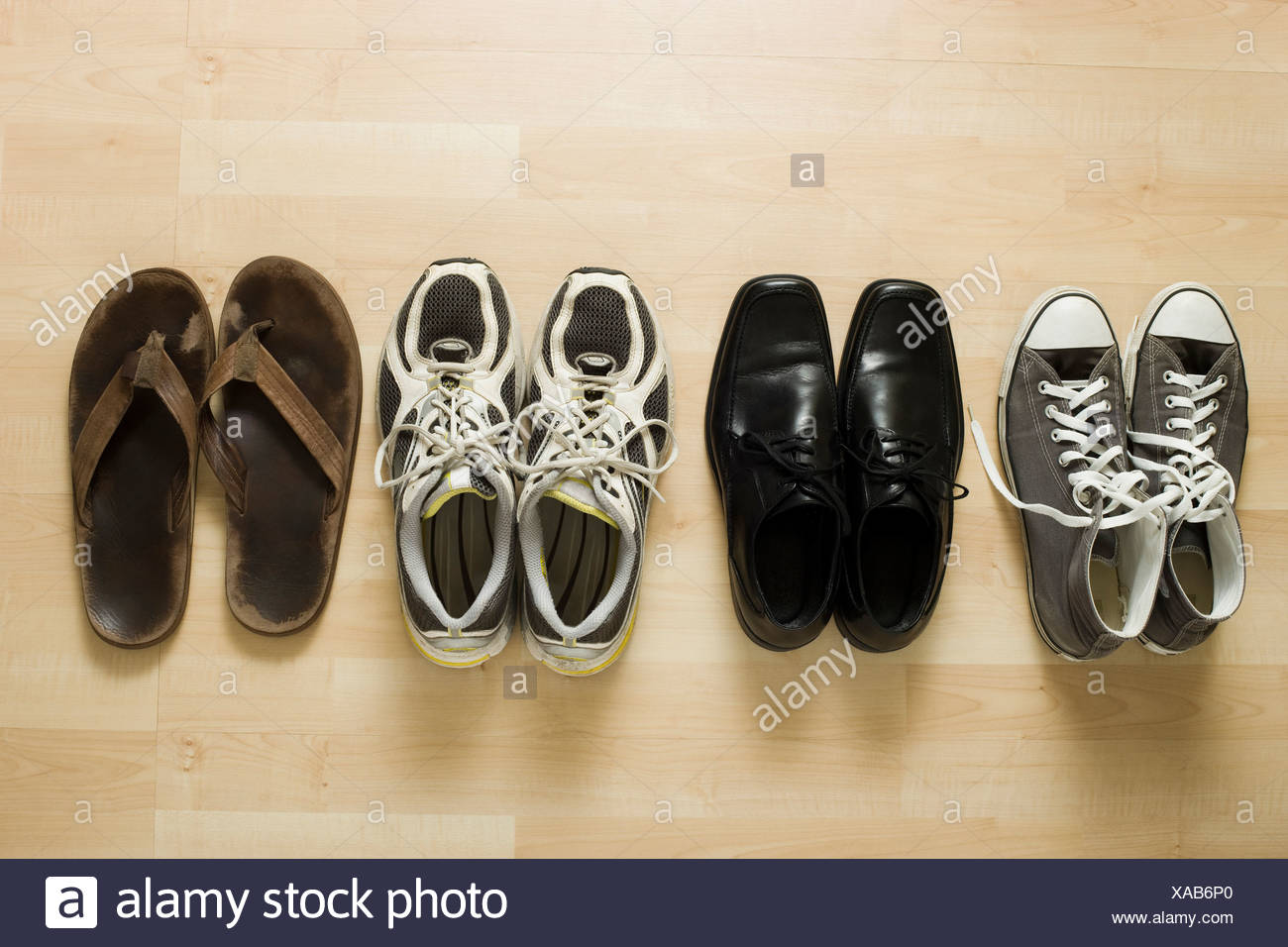 four pairs of shoes - Stock Image