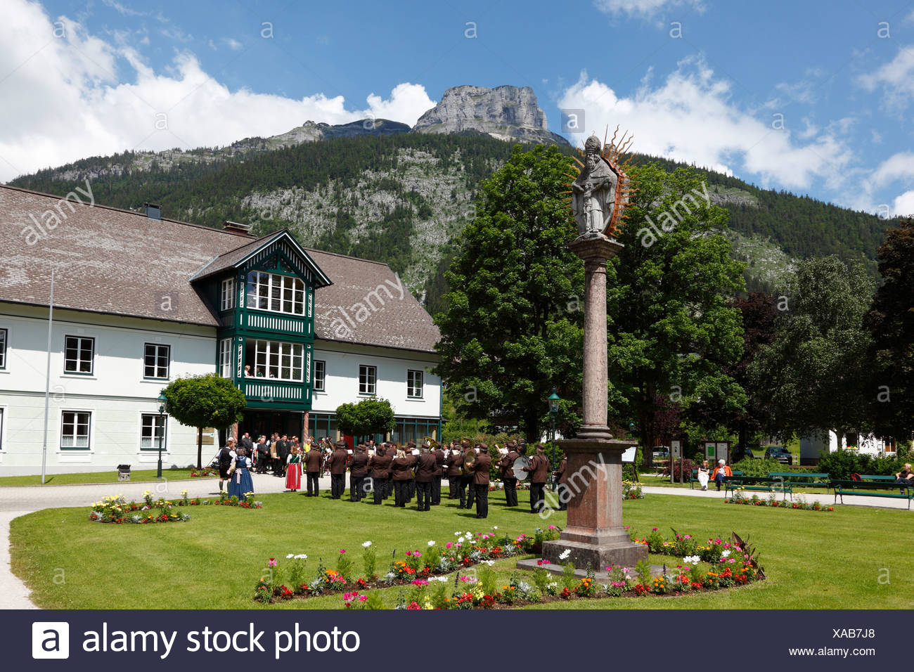 Spa park in Altaussee, Loser mountain, Ausseer Land, Salzkammergut area, Styria, Austria, Europe - Stock Image