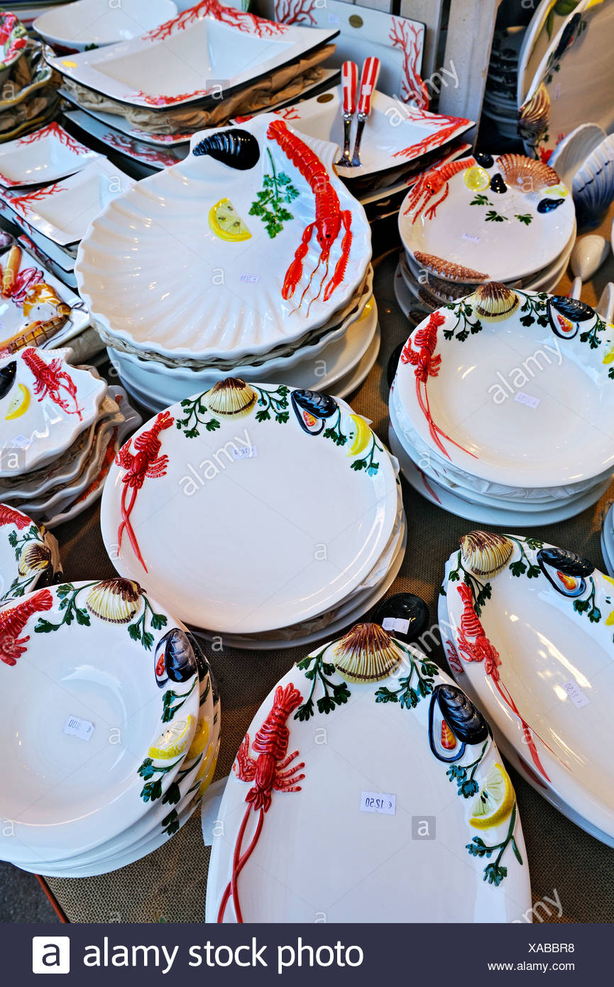 Crockery with seafood designs, Auer Dult market, Munich, Bavaria, Germany, Europe - Stock Image