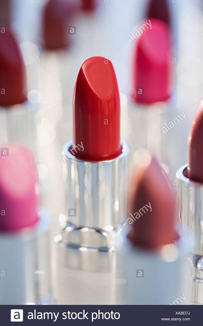 Close up of assorted lipsticks - Stock Image