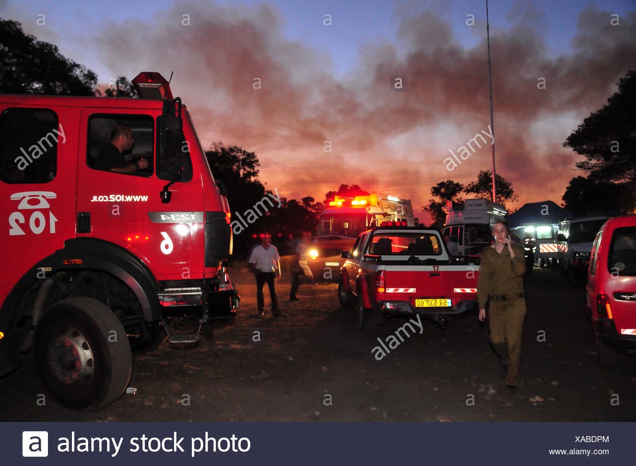 42 Prison Guards killed on bus as huge forest fire rages on the Carmel Mountain South of Haifa - Stock Image