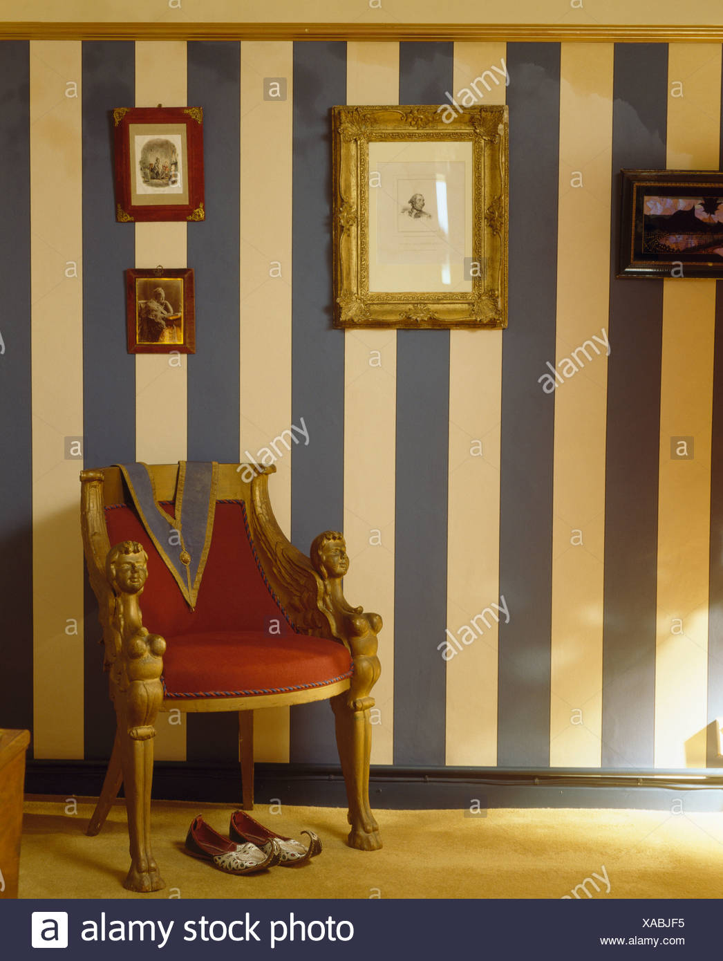 Awe Inspiring Gilt Framed Picture On Wall With Wide Hand Painted Blue Pabps2019 Chair Design Images Pabps2019Com