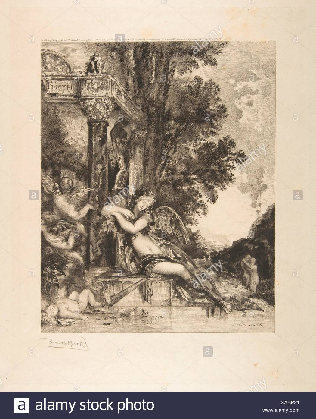 Discord, from the Fables of La Fontaine. Artist: Félix Bracquemond (French, Paris 1833-1914 Sèvres); Artist: After Gustave Moreau (French, Paris - Stock Image