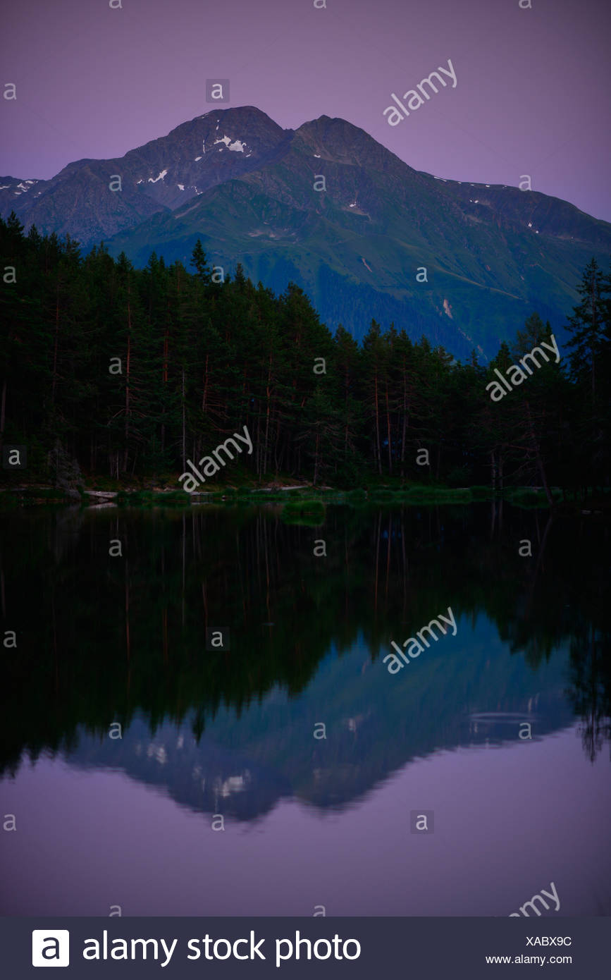 Conifer forest on lake Möserer See, purple sky, the Rietzer Grieskogel or Rietzer Griesskogel mountain at back, near Mösern - Stock Image