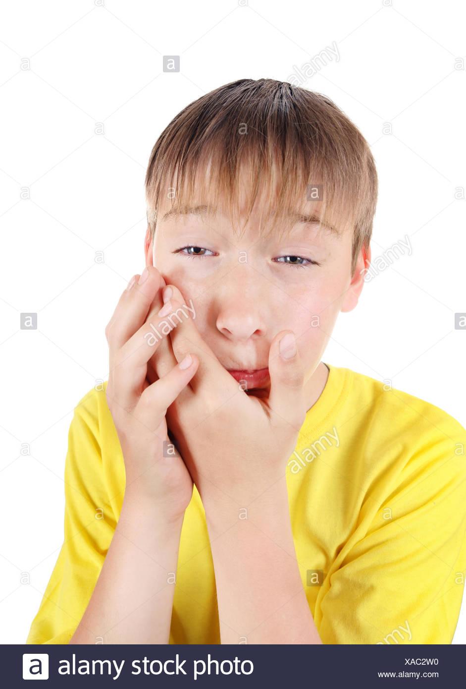 Kid feels Toothache - Stock Image