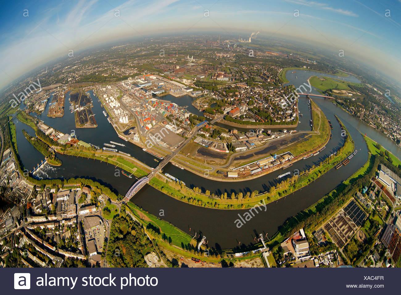 Aerial view, port of Duisburg, Duisport, container port, coal dock, Ruhr river, Rhine, Ruhrort quarter, Duisburg, Ruhr Area - Stock Image