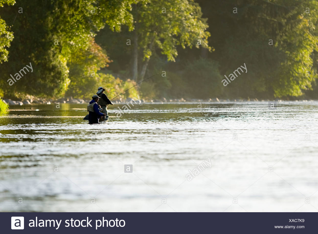 Flyfishermen in the Campbell River, fish the pools below Elk Falls.  Campbell River, Vancouver Island, British Columbia, Canada. Stock Photo