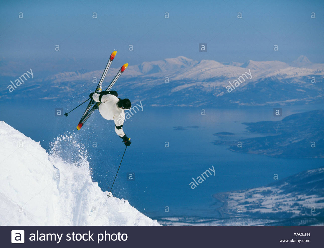 Skier in the middle of a jump, Narvik, Norway. - Stock Image