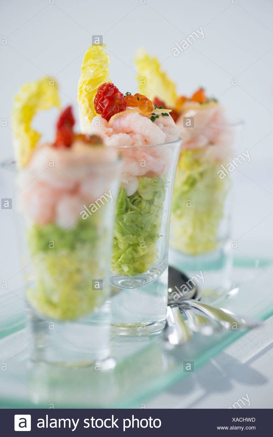 Prawn cocktail served in a glass - Stock Image