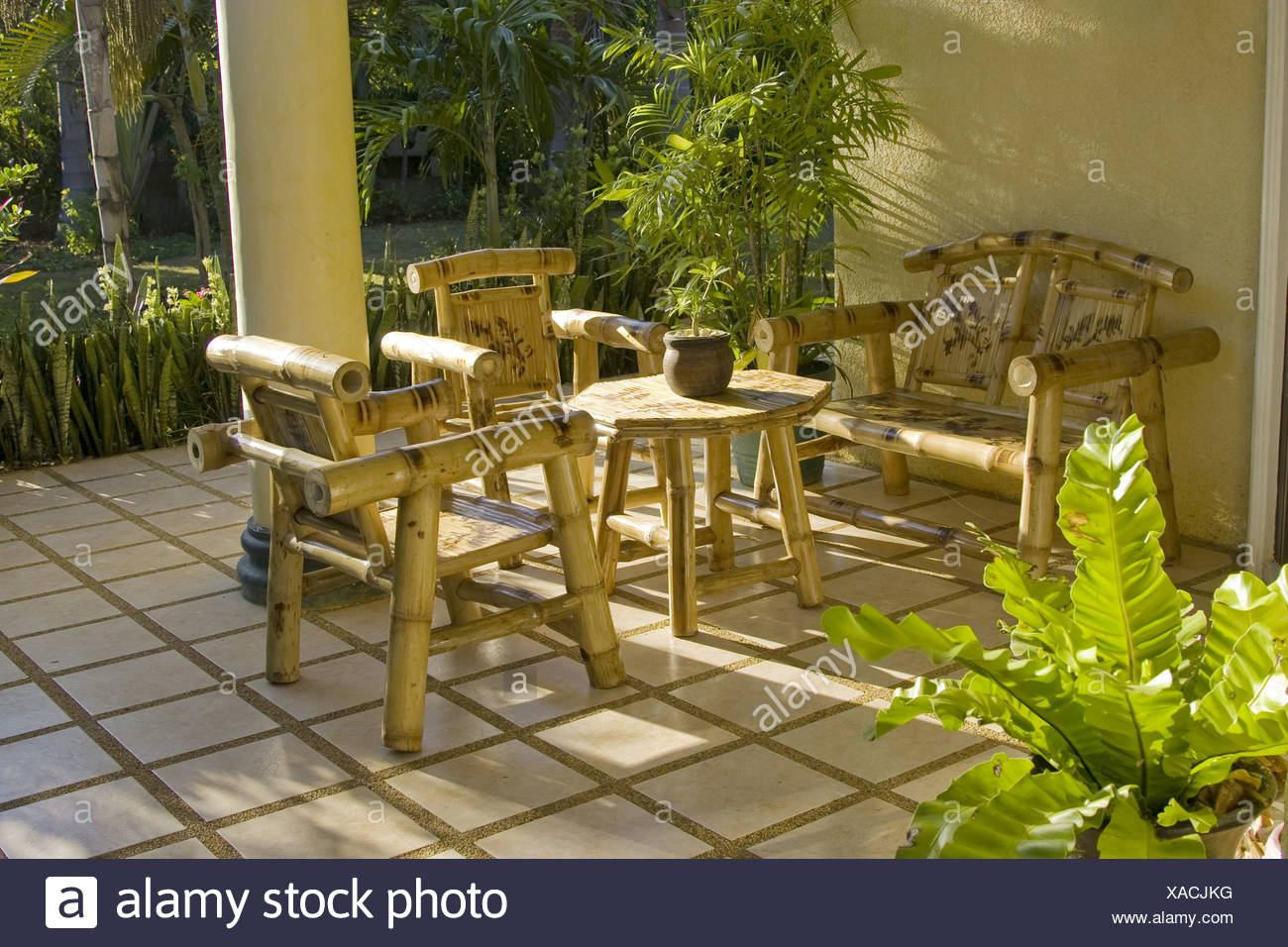 Garden furniture chairs table made from bamboo Stock Photo - Alamy