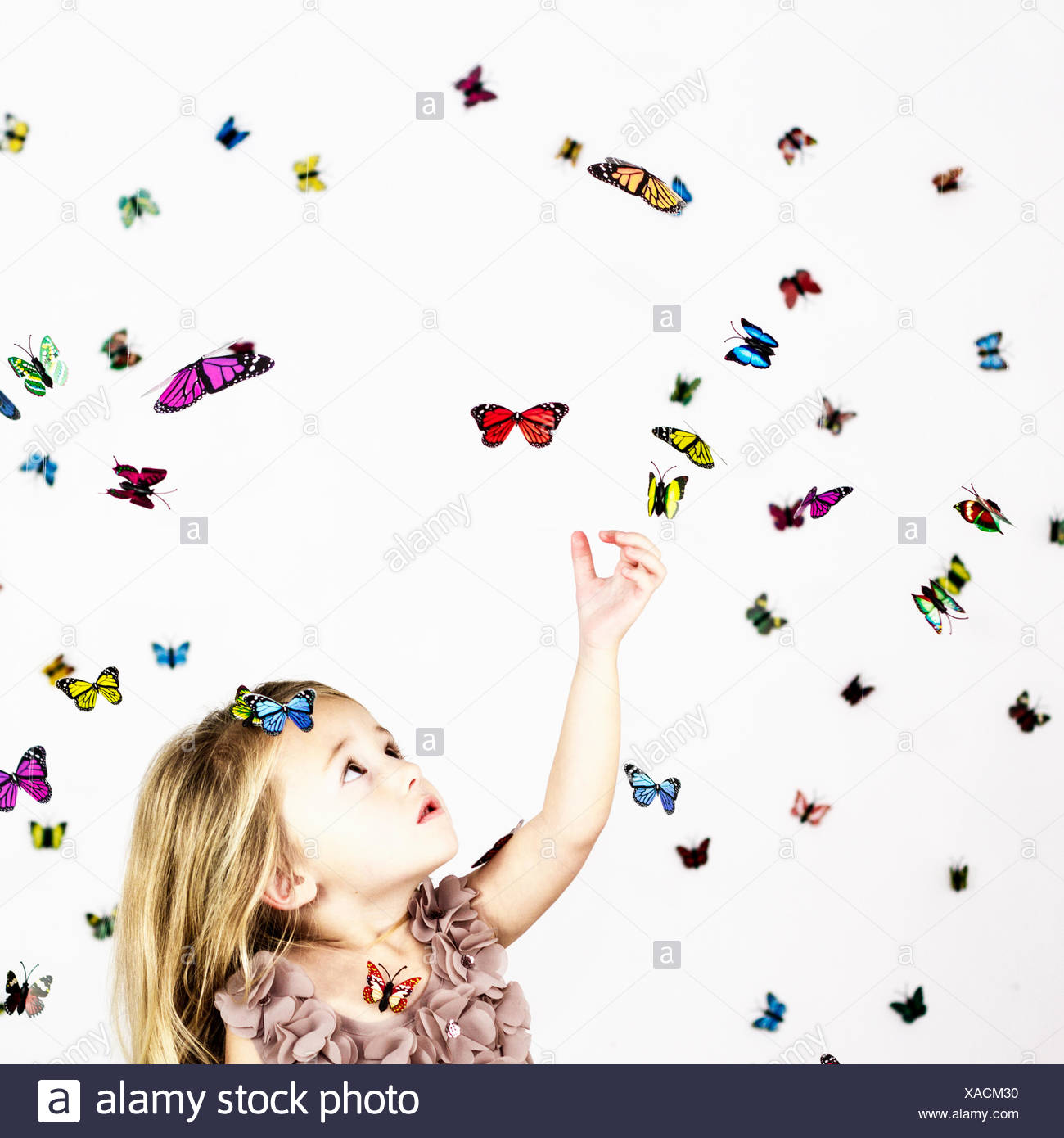 Girl with butterflies on white - Stock Image
