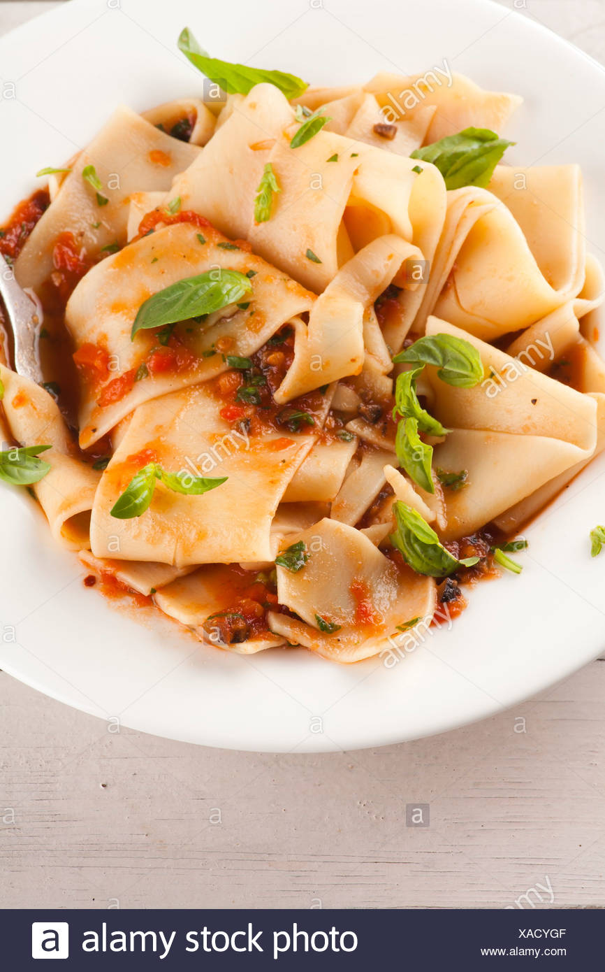Pasta tagliatelle with tomato Stock Photo