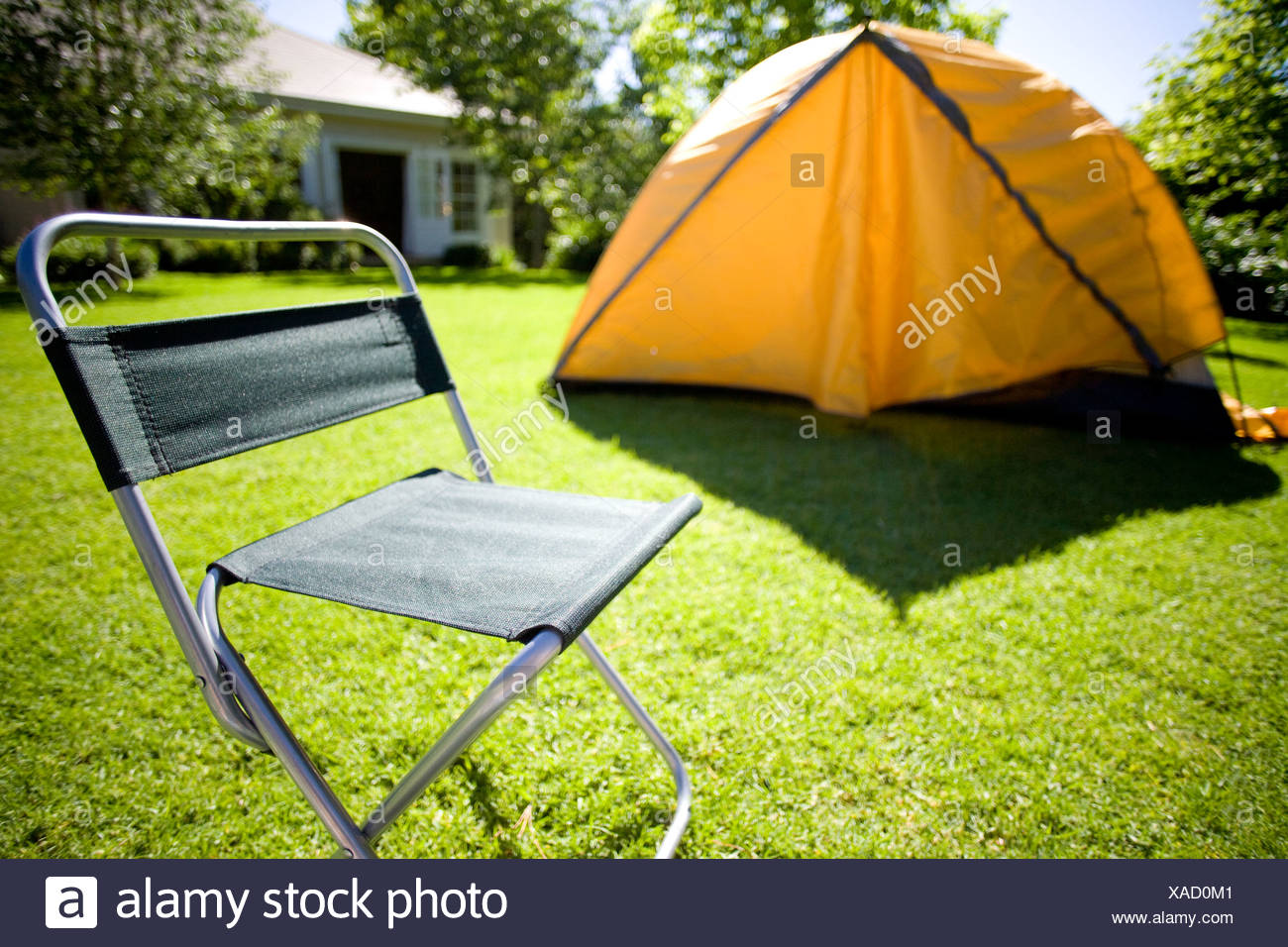 tent camping chair backyard stock photos tent camping chair