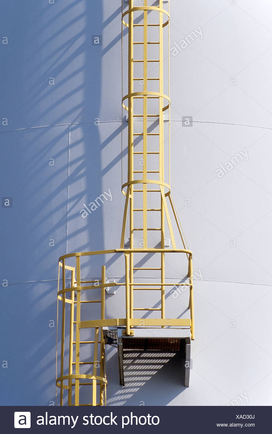 Ladder on a tank containing hydrochloric acid, Chempark Krefeld-Uerdingen industrial park, formerly known as Bayer Industry - Stock Image