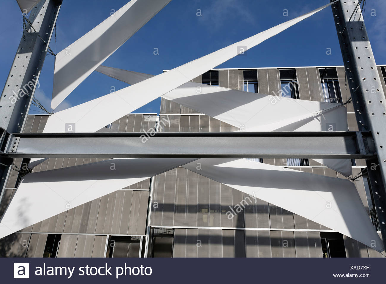 Segel Pavilion, Exhibit of the Faculty of Civil Engineering, Bauhaus-University Weimar, Weimar, Thuringia, Germany, Europe - Stock Image