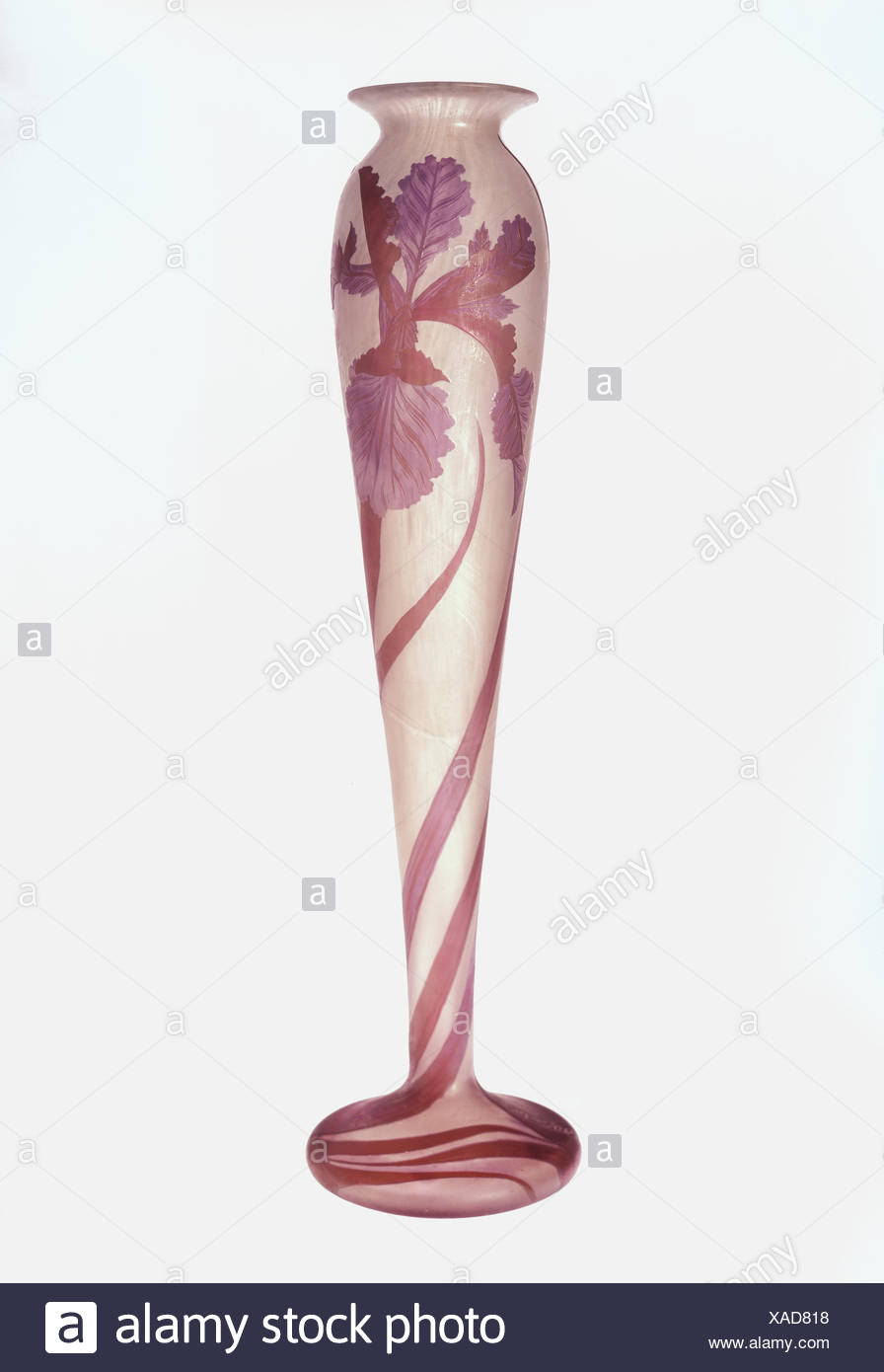 fine arts, vessels, vase, by Emile Galle (1846 - 1904), glass, height 49 cm, France, 1904, private collection, - Stock Image