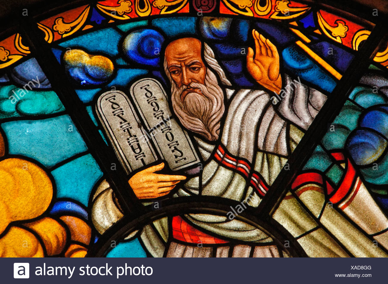 Ethiopia- Addis Abeba- at the Saint Trinity church at Adiis Ababa: Steende glass representing Mosers and the Table of Law: - Stock Image