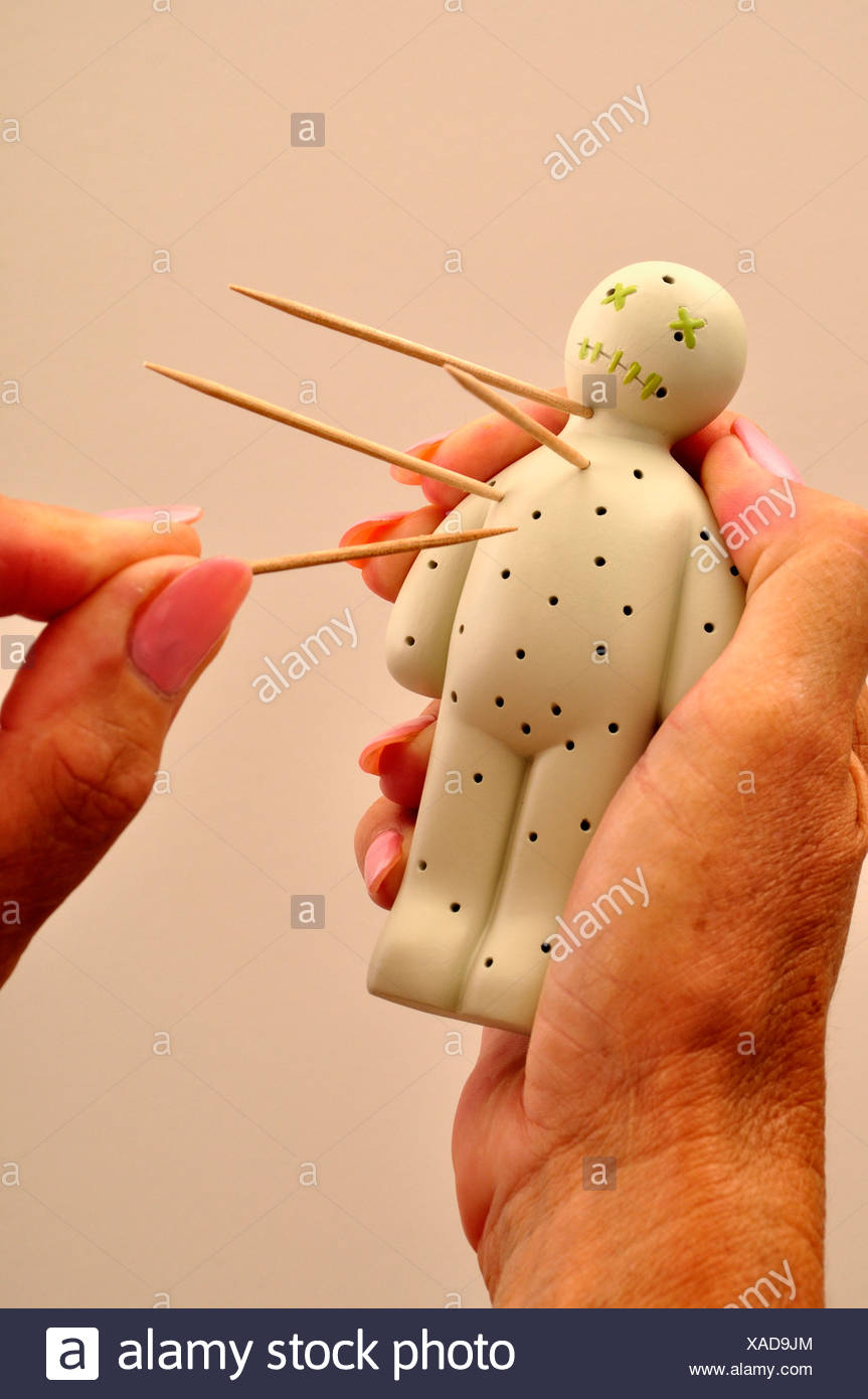 Voodoo Doll Toothpicks Hate Mystical Belief Black magic - Stock Image