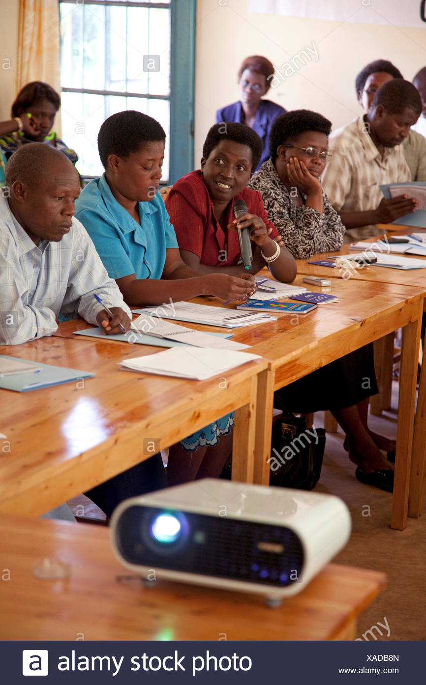 a local non-government organization for human rights taking part in a workshop about that subject, Burundi, Makamba, Makamba - Stock Image