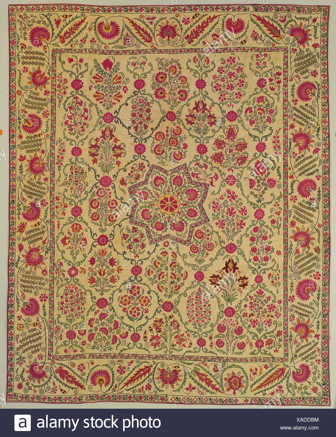 Hanging. Date: early 19th century; Geography: Attributed to present-day Uzbekistan, Nurata; Medium: Silk embroidery on cotton; couching, chain, - Stock Image