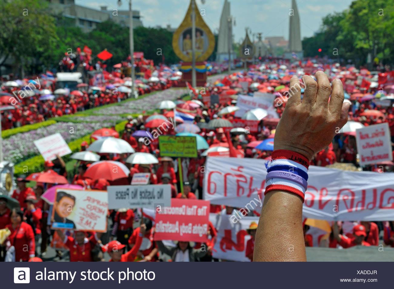 Thaksin Shinawatra followers demonstrating in Bangkok, Thailand, Asia Stock Photo