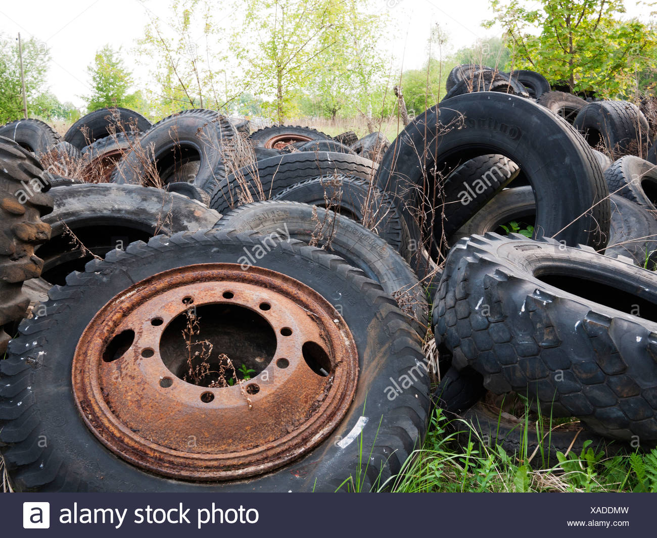 Old tyres littering the landscape - Stock Image