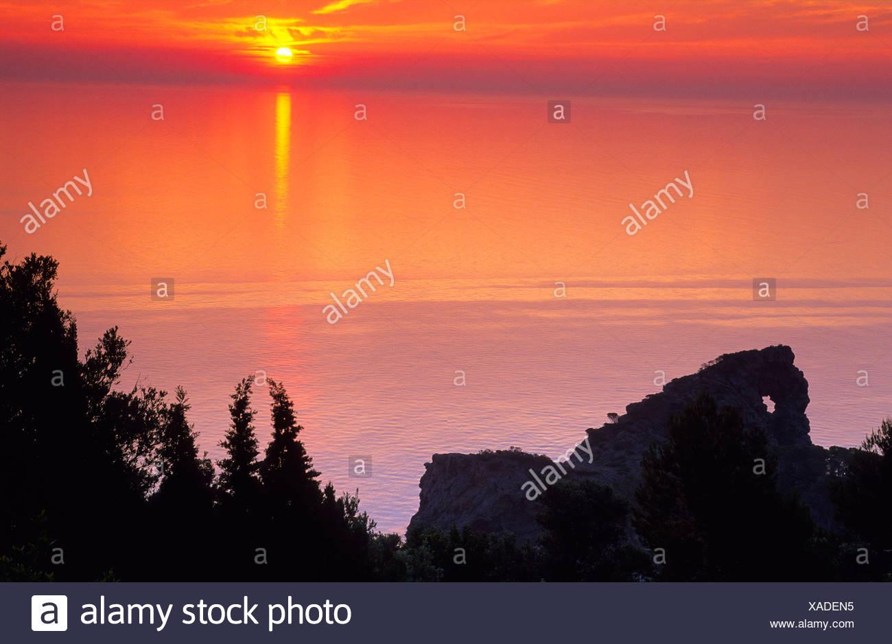 Europe, Spain, Majorca, eastern coast. Sunset - Stock Image