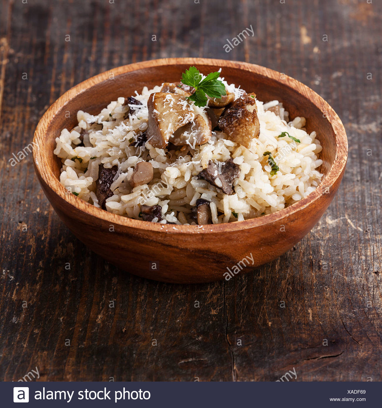 Wild mushrooms risotto with parsley and parmesan - Stock Image