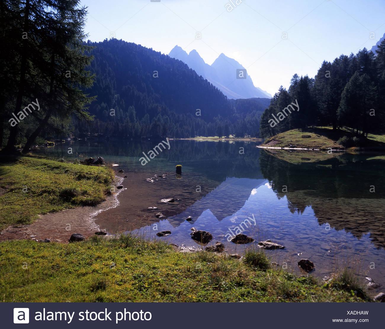 Mountain lake Lai da Palpuogna lake scenery landscape mountains Alps Albula Albulapass pass Grisons Graubun - Stock Image