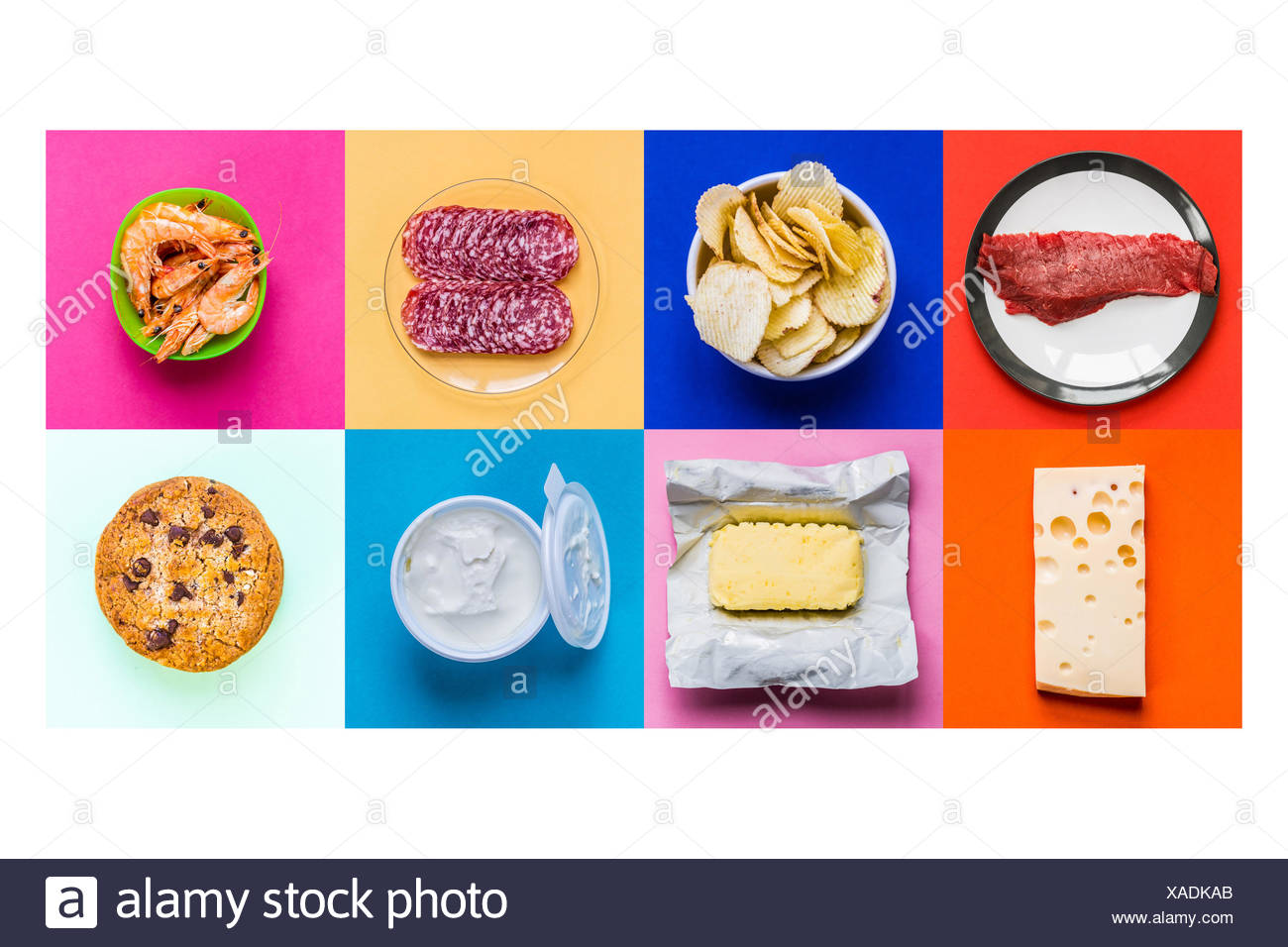 Cholesterol -rich foods. - Stock Image