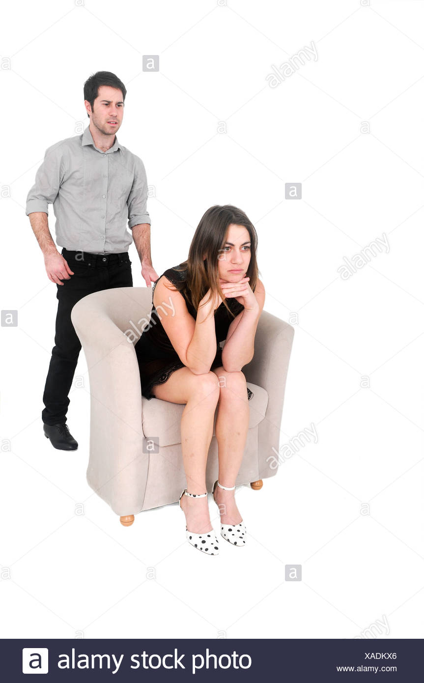 alienated couple On white Background - Stock Image