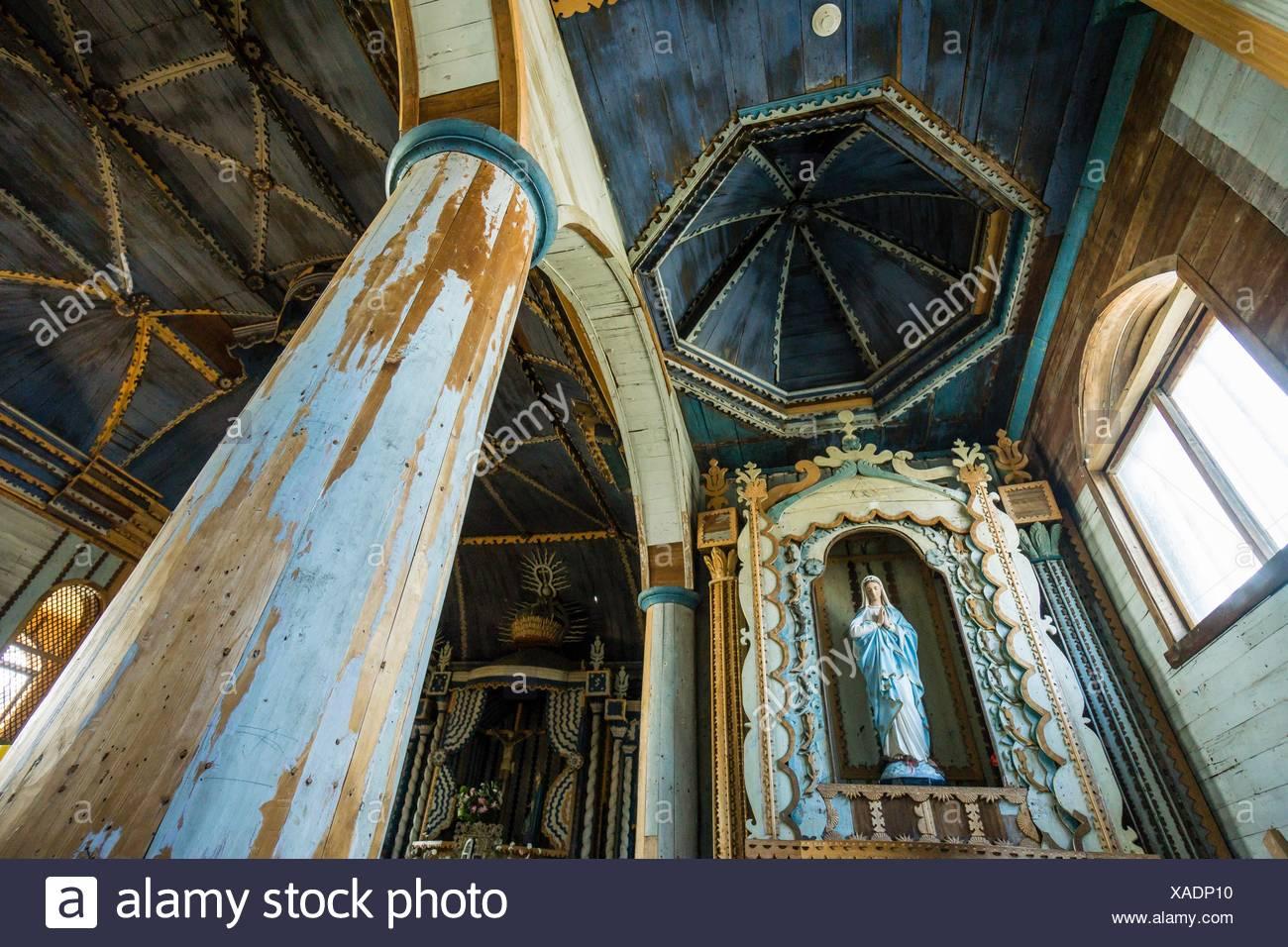 Iglesia Santa María de Loreto ,Achao, 1740, Monumento Nacional de Chile, Patrimonio de la Humanidad por la Unesco, archipiélago de Chiloé ,provincia Stock Photo
