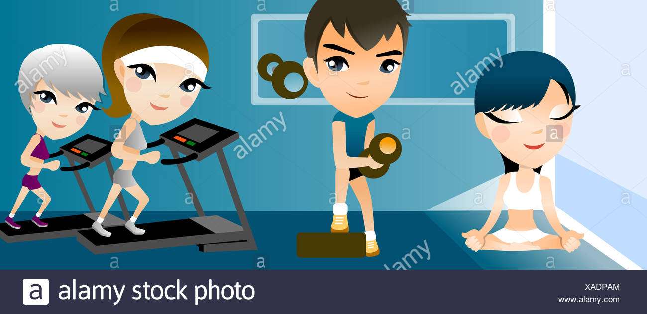 Bangs Body Conscious Clipart Color Colour Color Image Computer Graphics Concentration Contemplation Cross Legged Digitally Generated Image Dumbbell Effort Exercising Eyes Closed Four People Front View Full Length Girls Girl Child Kid Female Graphics