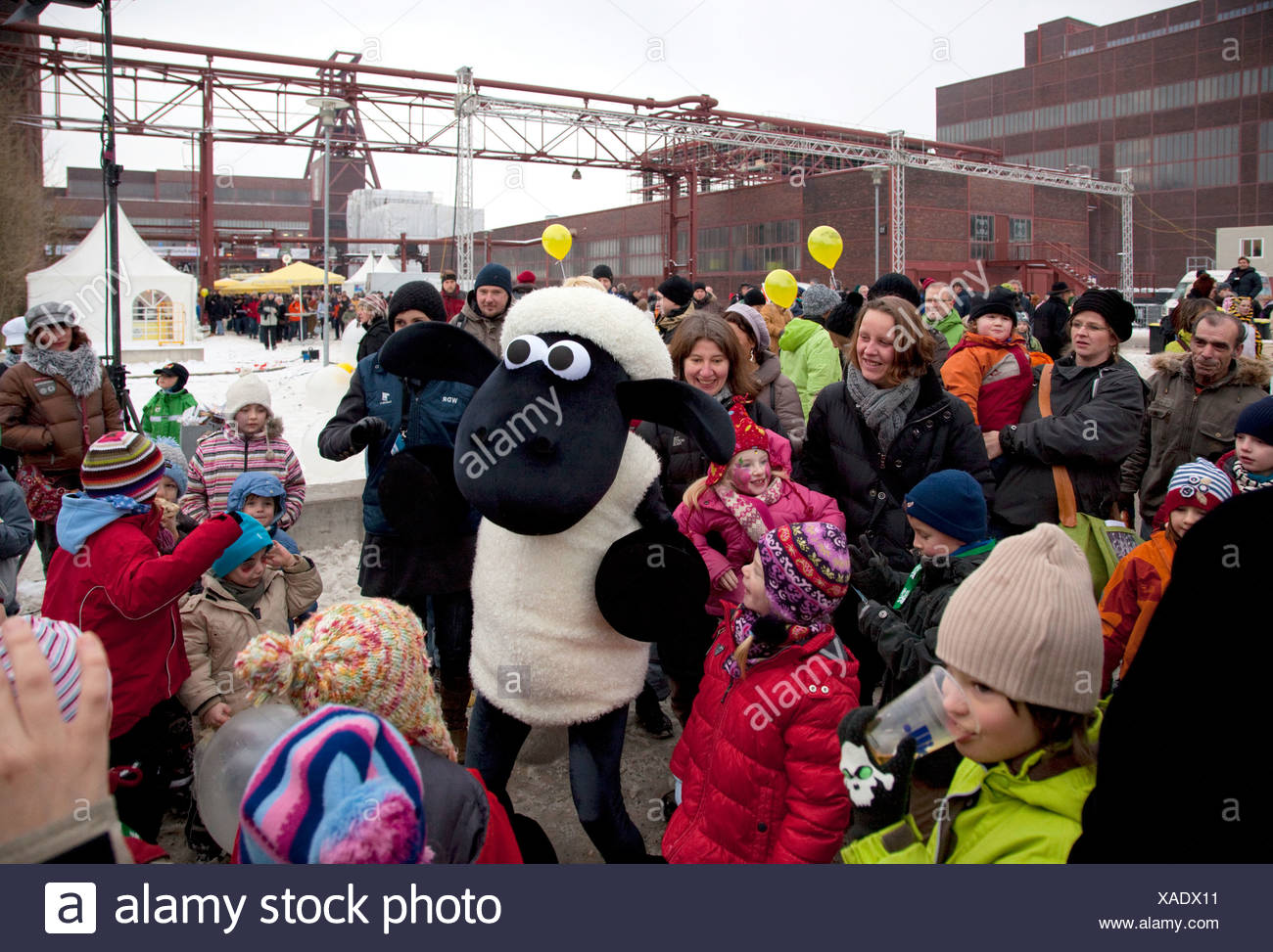 Essen, Germany, children celebrate with Shaun the Sheep on the Cultural Festival Ruhr 2010 - Stock Image