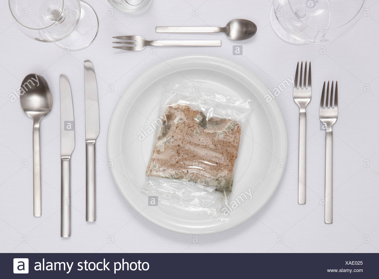 Moulded bread in plate - Stock Image