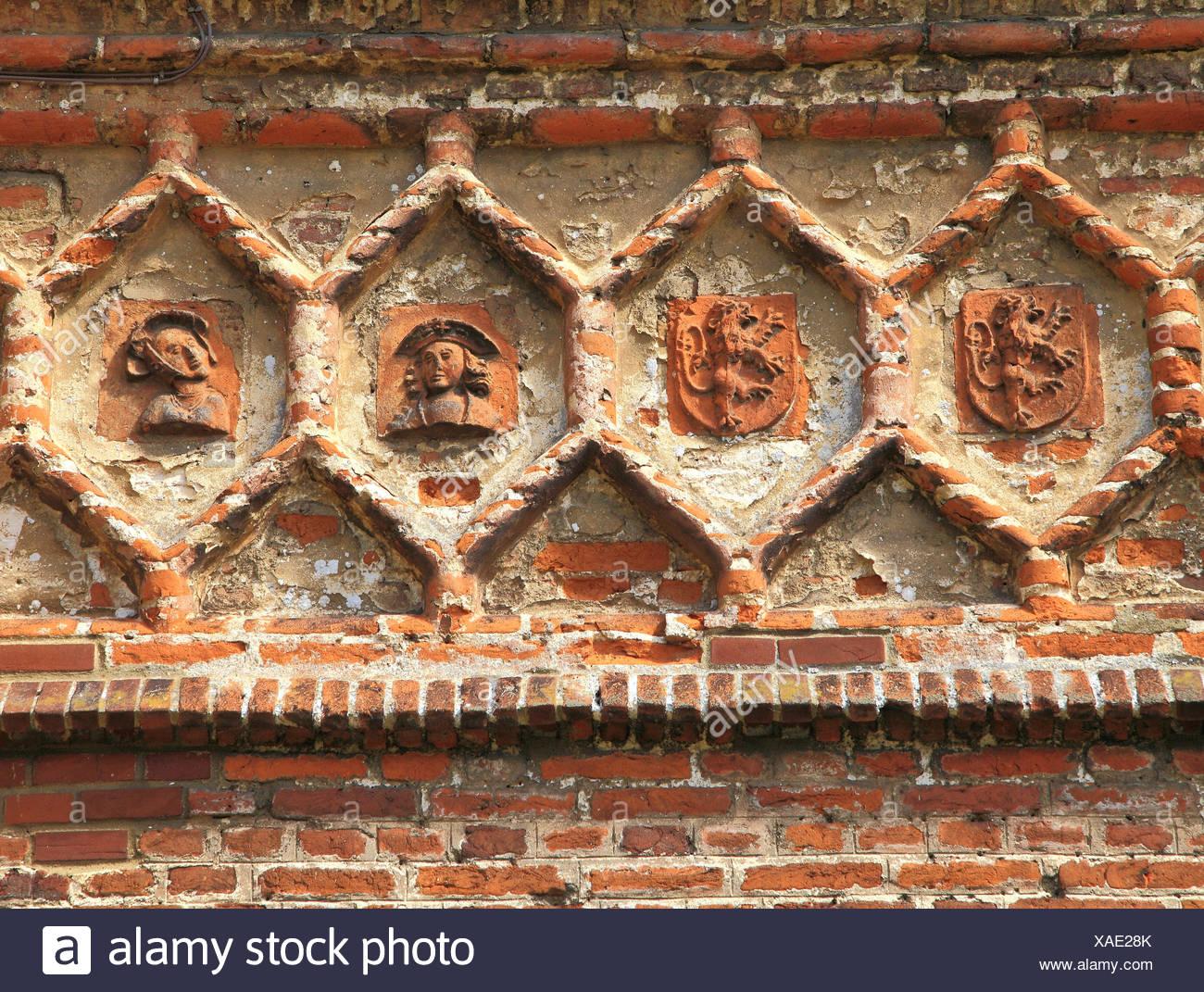 East Barsham, Tudor Manor House, detail,  terracotta decoration, on south frontage, Norfolk, England, UK - Stock Image