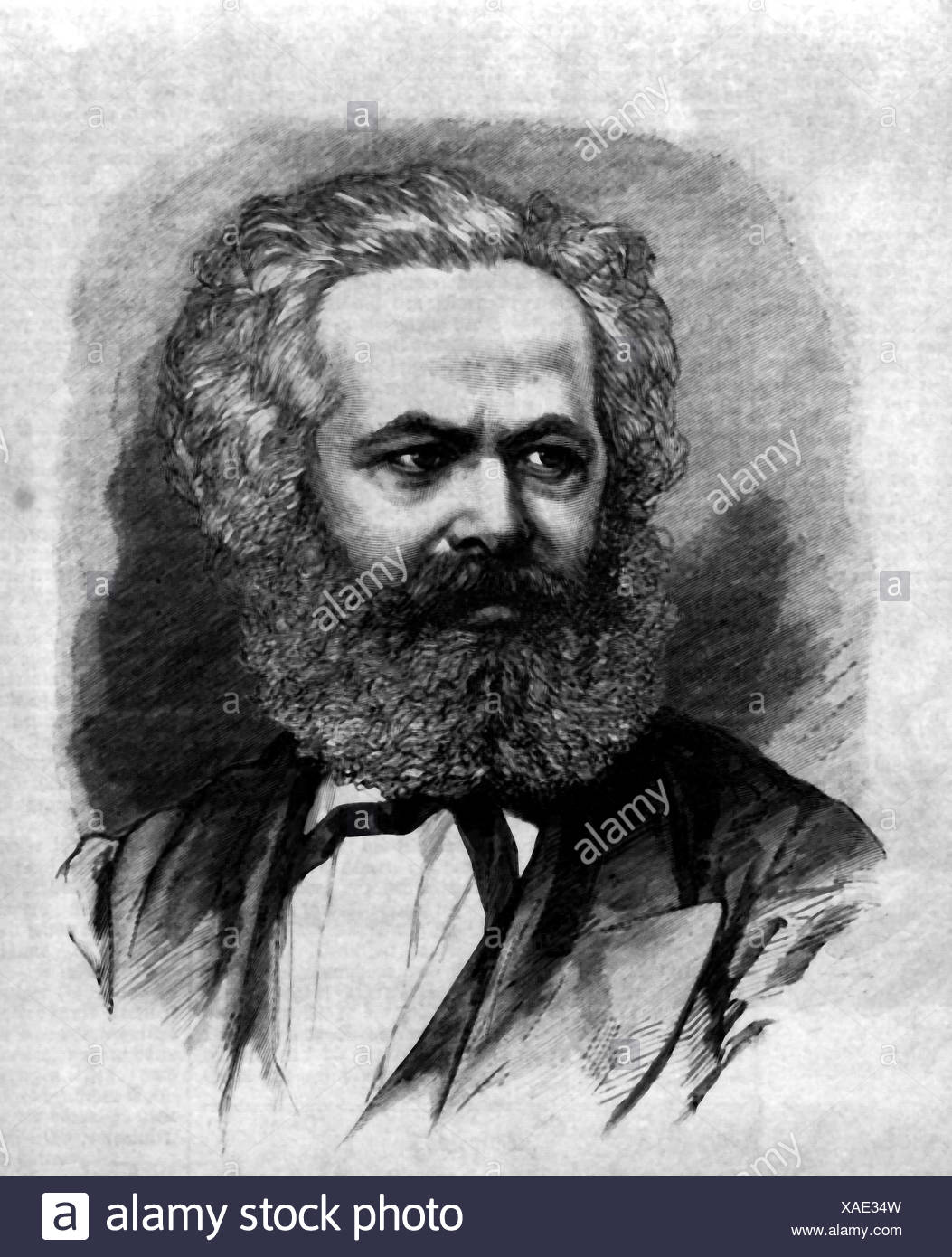 Marx, Karl, 5.5.1818 - 14.3.1883, German philosopher, portrait, engraving 1871, marxism, communism, 19th century, , Additional-Rights-Clearances-NA - Stock Image