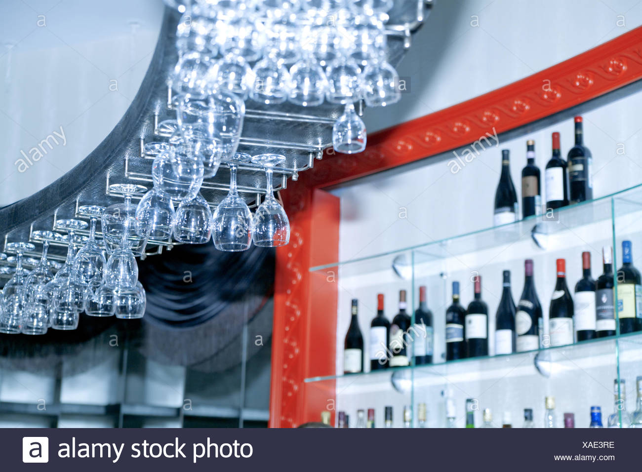 bar with drinks and glasses - Stock Image