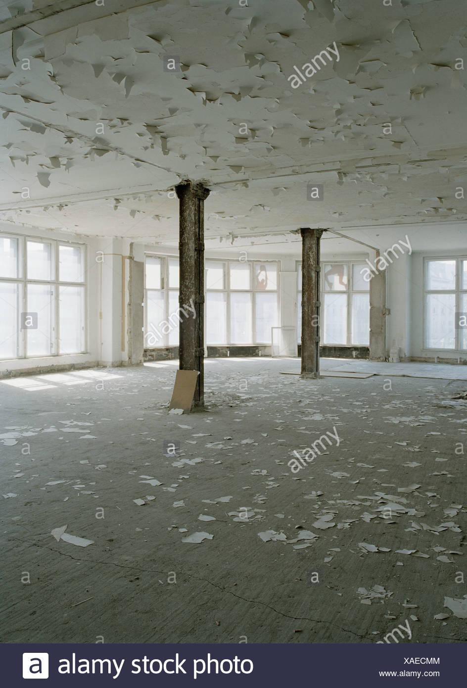A room in disrepair - Stock Image