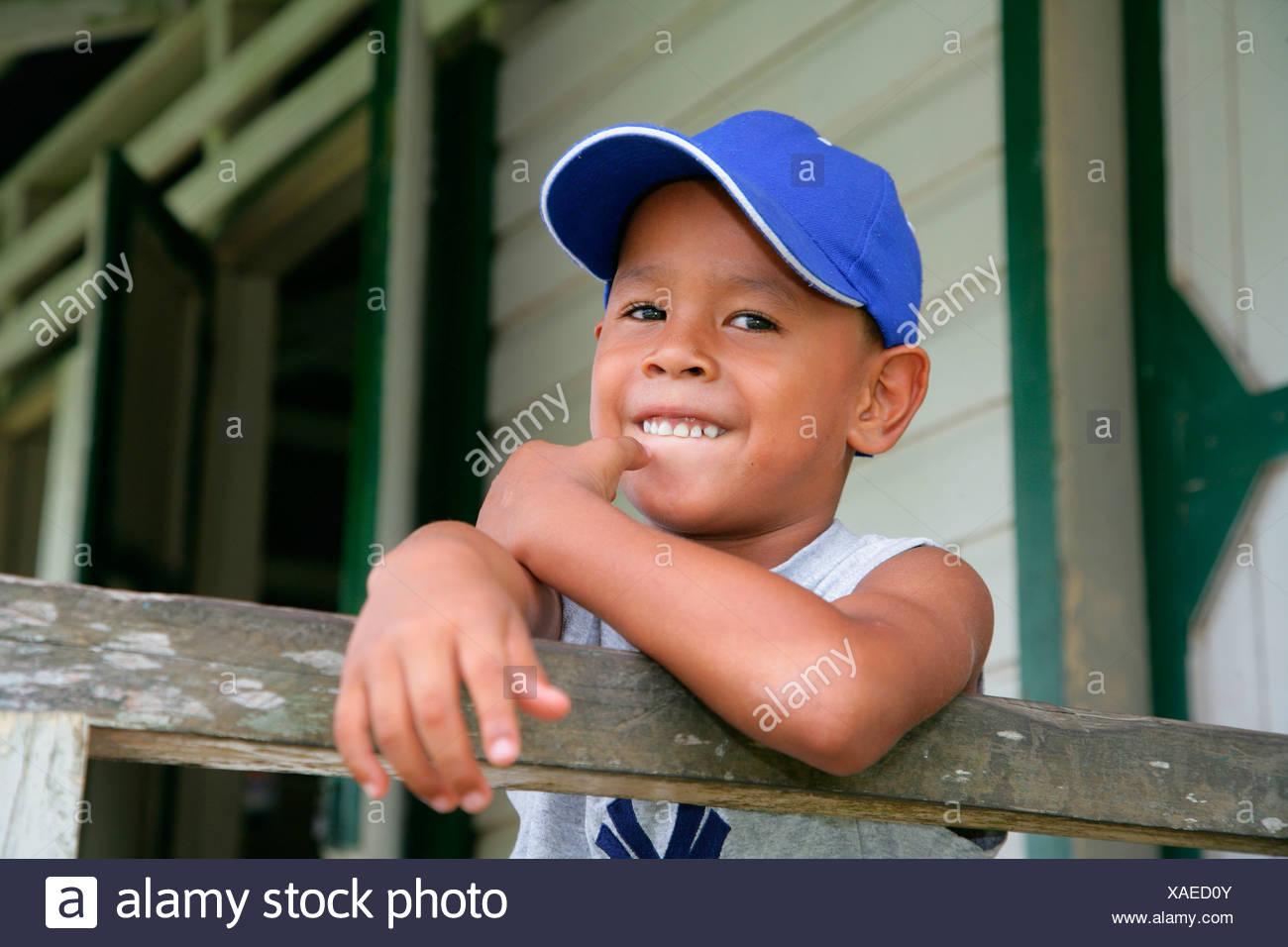 Schoolboy during recess, Arawak natives, Santa Mission, Guyana, South America - Stock Image