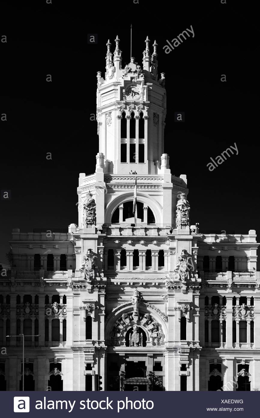 Palacio Nuestra Señora de Correos palace, also known as Palacio de Comunicaciones palace, post office, Madrid, Spain, Europe Stock Photo